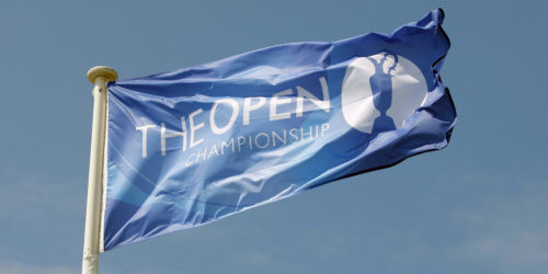CMD4MJ WIND BLOWS THE OPEN FLAG THE OPEN CHAMPIONSHIP LYTHAM & ST.ANNES LANCASHIRE ENGLAND 22 July 2012