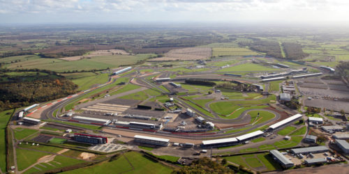E95HKG aerial view of Silverstone race circuit in Northamptonshire, UK