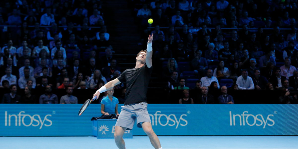 MN5B7P Andy Murray vs Stan Wawrinka during Day 6 of the 2015 Barclays ATP World Tour Finals - O2 Arena London England. 20 November 2015